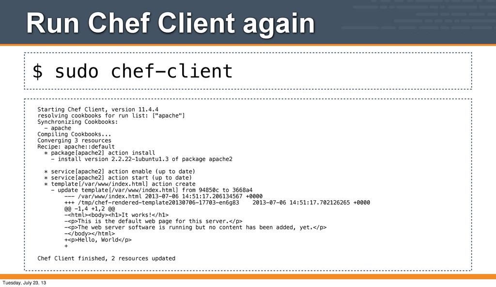 $ sudo chef-client Run Chef Client again Starti...