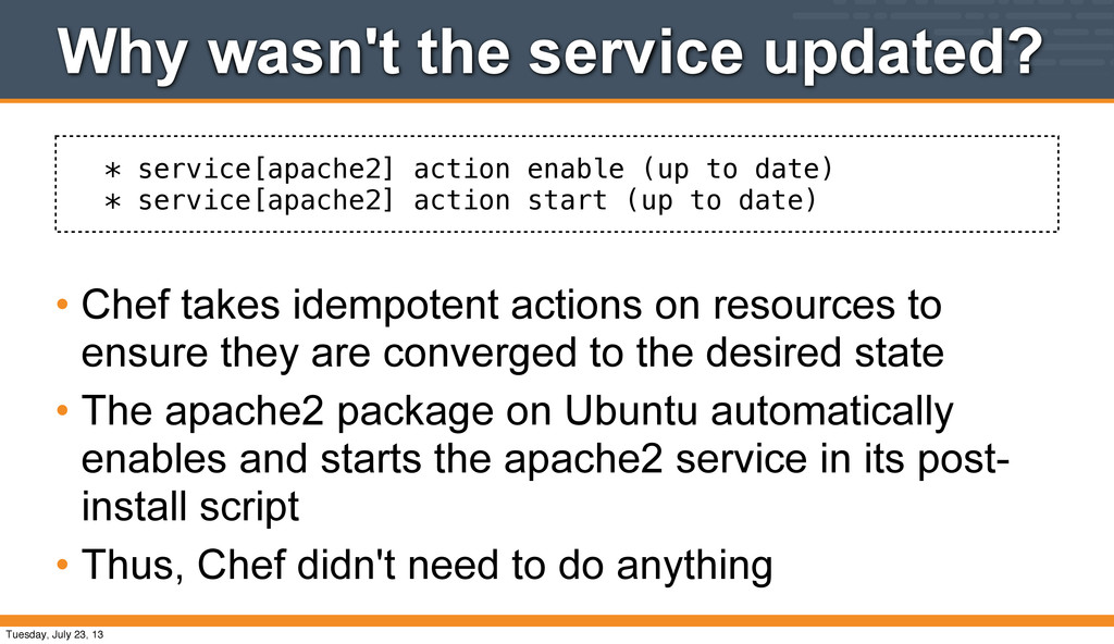 * service[apache2] action enable (up to date) *...