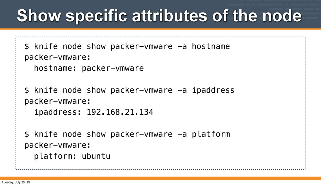Show specific attributes of the node $ knife no...