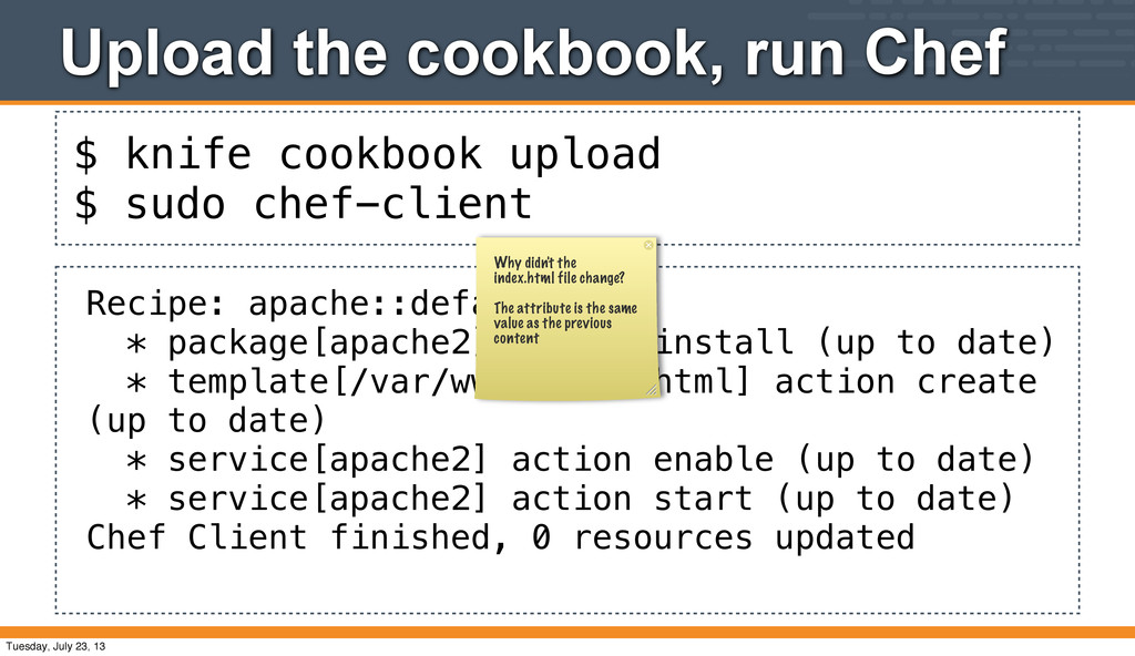 $ knife cookbook upload $ sudo chef-client Uplo...