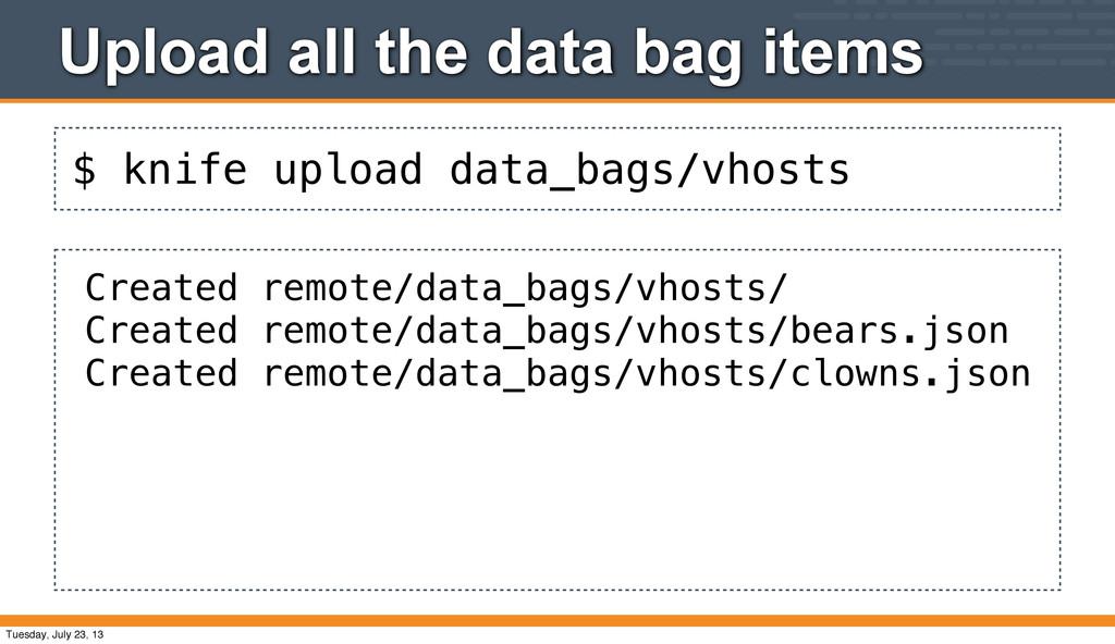 $ knife upload data_bags/vhosts Upload all the ...