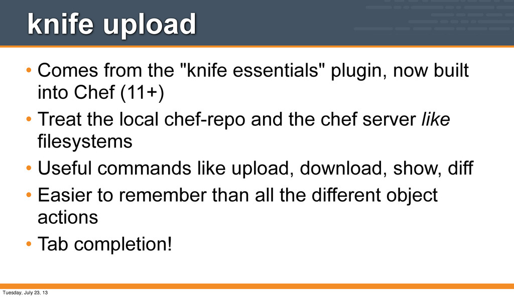 """knife upload • Comes from the """"knife essentials..."""