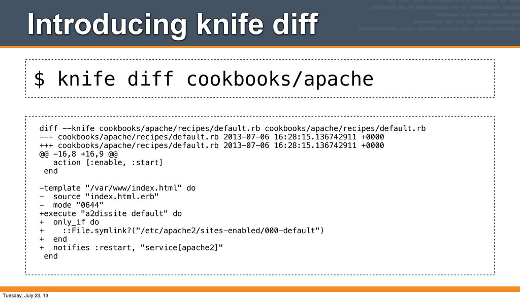 $ knife diff cookbooks/apache Introducing knife...
