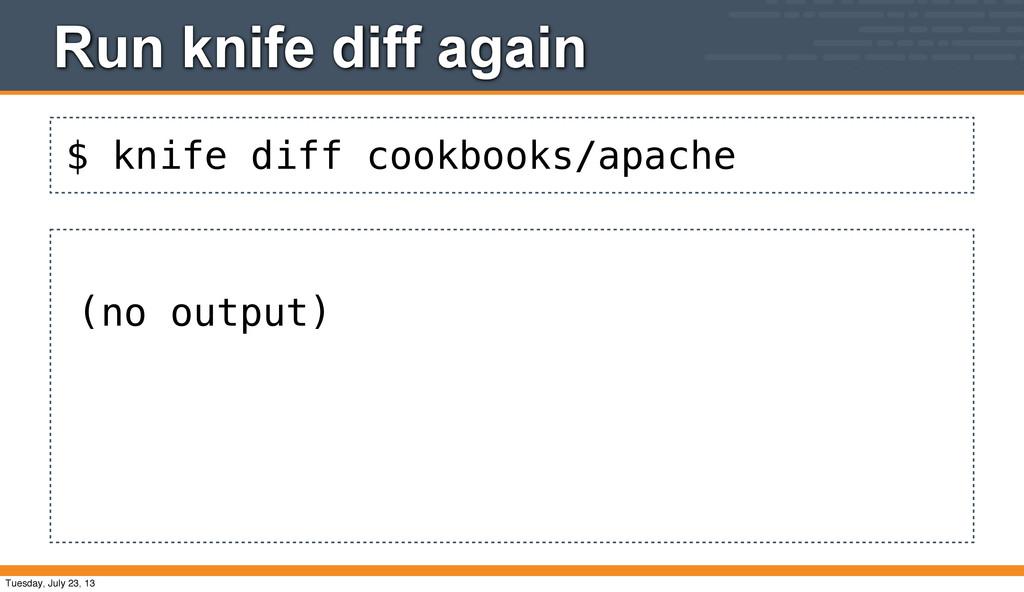 $ knife diff cookbooks/apache Run knife diff ag...