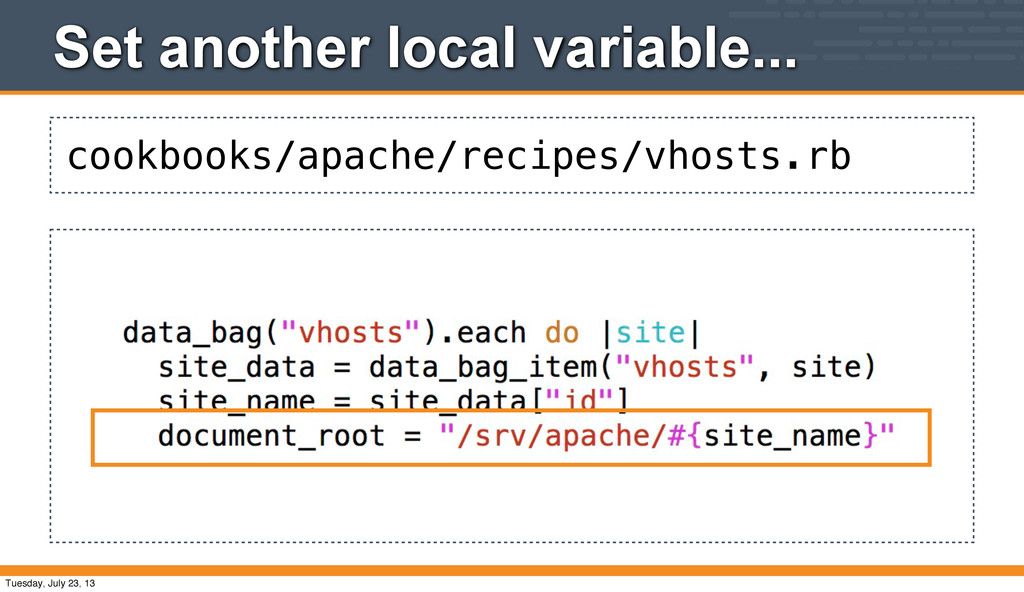 cookbooks/apache/recipes/vhosts.rb Set another ...