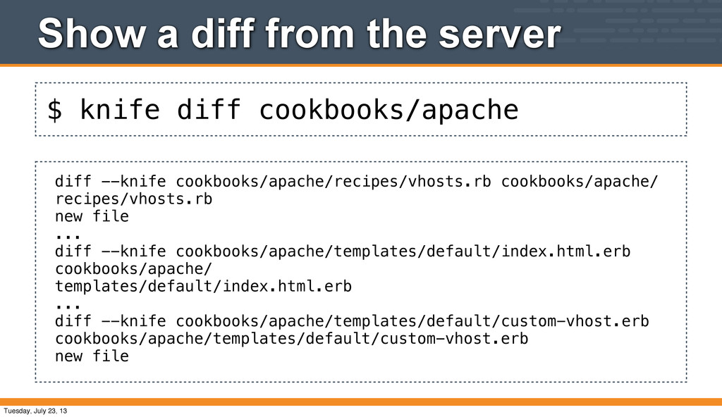 $ knife diff cookbooks/apache Show a diff from ...