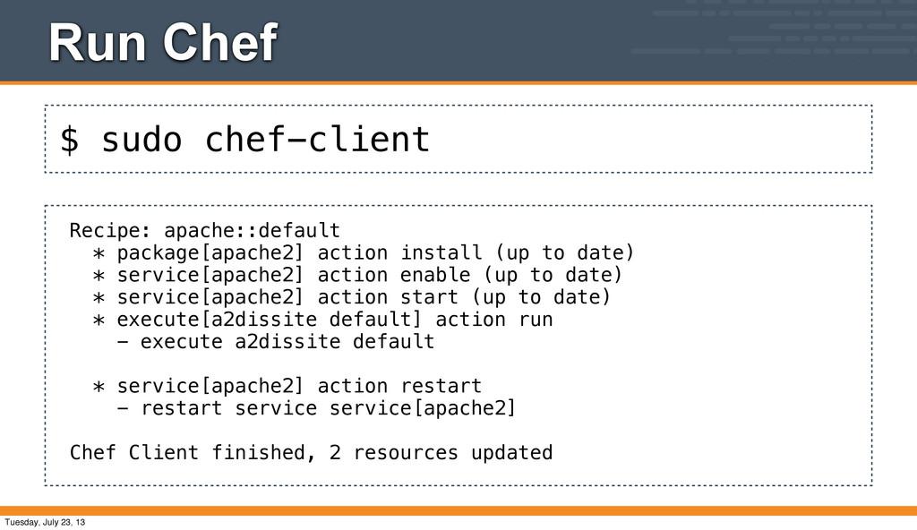 $ sudo chef-client Run Chef Recipe: apache::def...