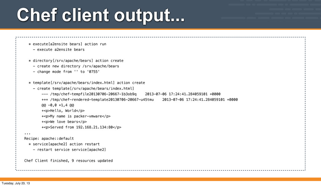 Chef client output... * execute[a2ensite bears]...