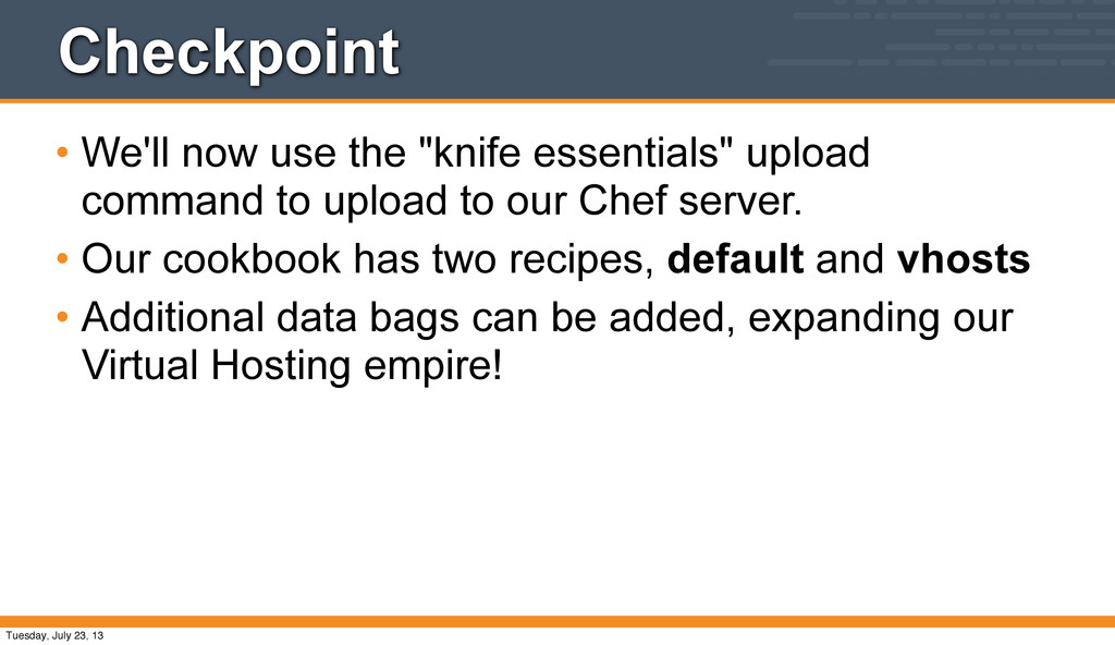 """Checkpoint • We'll now use the """"knife essential..."""