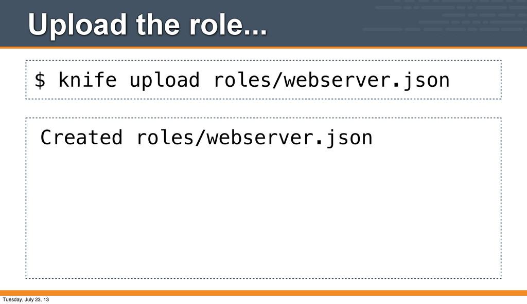 $ knife upload roles/webserver.json Upload the ...