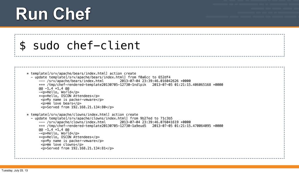 $ sudo chef-client Run Chef * template[/srv/apa...