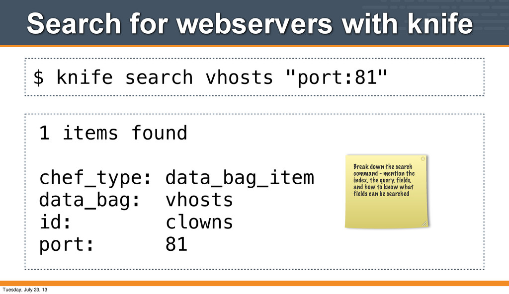 """$ knife search vhosts """"port:81"""" Search for webs..."""