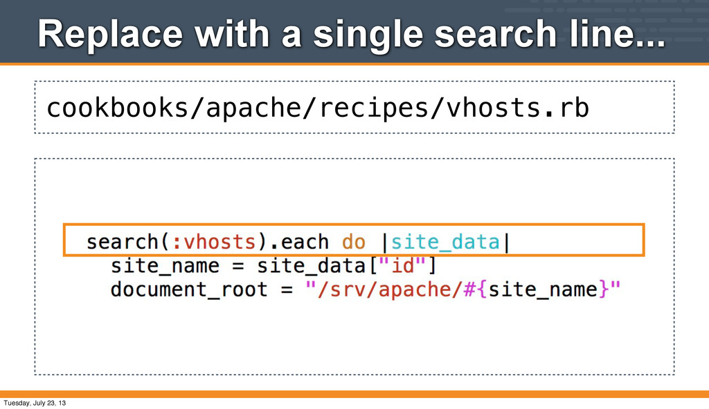 cookbooks/apache/recipes/vhosts.rb Replace with...