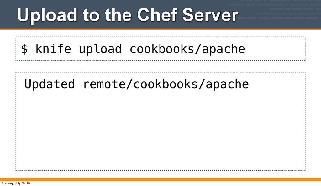 $ knife upload cookbooks/apache Upload to the C...