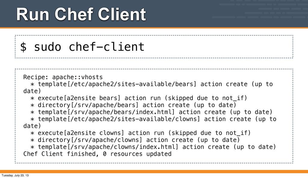 $ sudo chef-client Run Chef Client Recipe: apac...