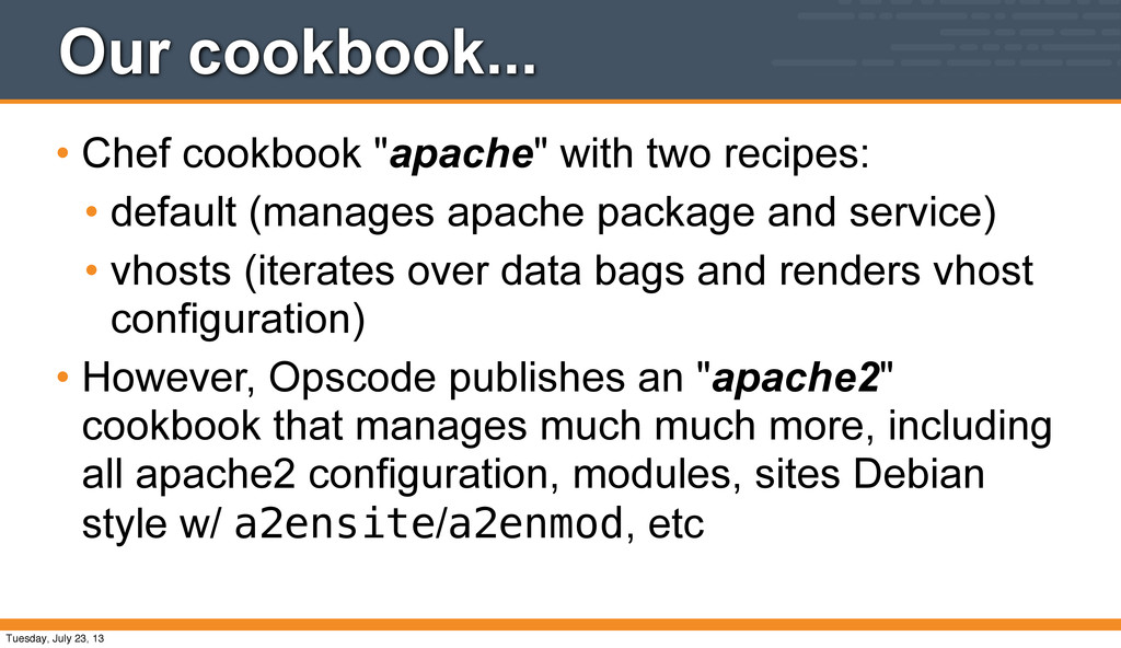 """Our cookbook... • Chef cookbook """"apache"""" with t..."""