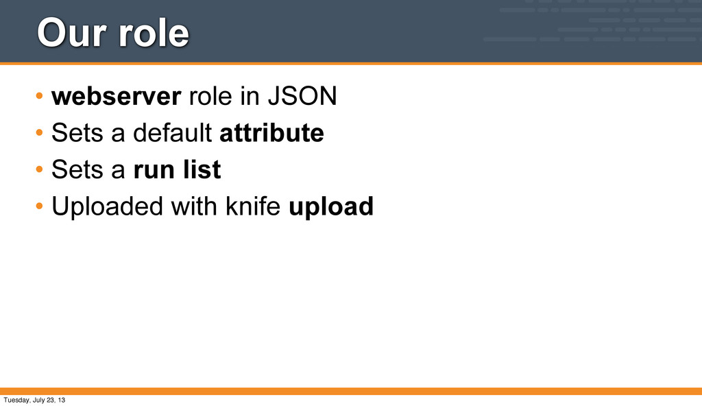 Our role • webserver role in JSON • Sets a defa...