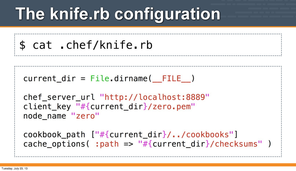 $ cat .chef/knife.rb The knife.rb configuration...