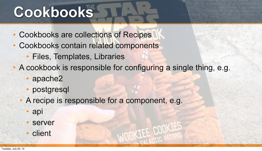 Cookbooks • Cookbooks are collections of Recipe...