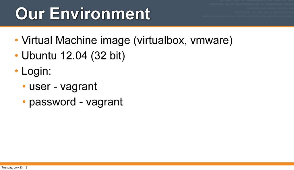 Our Environment • Virtual Machine image (virtua...