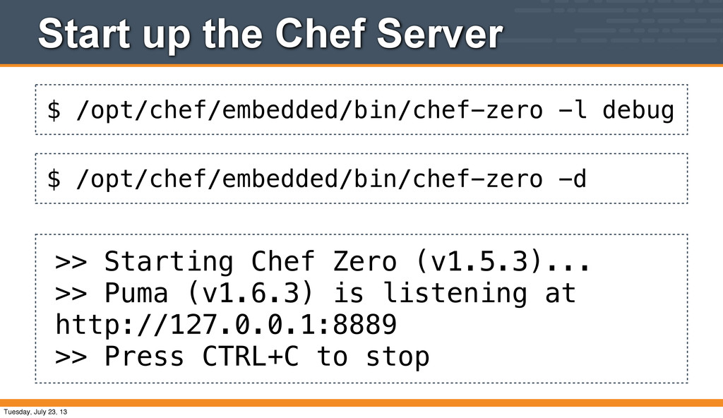$ /opt/chef/embedded/bin/chef-zero -l debug Sta...