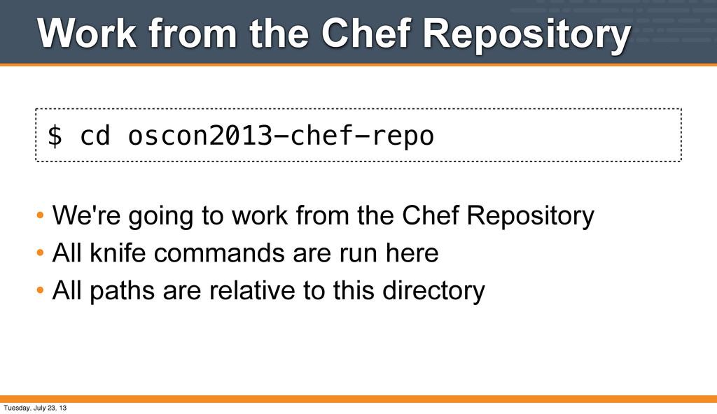 $ cd oscon2013-chef-repo Work from the Chef Rep...