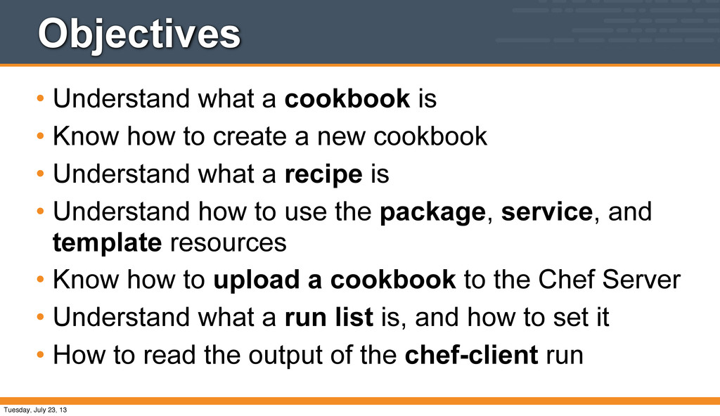 Objectives • Understand what a cookbook is • Kn...