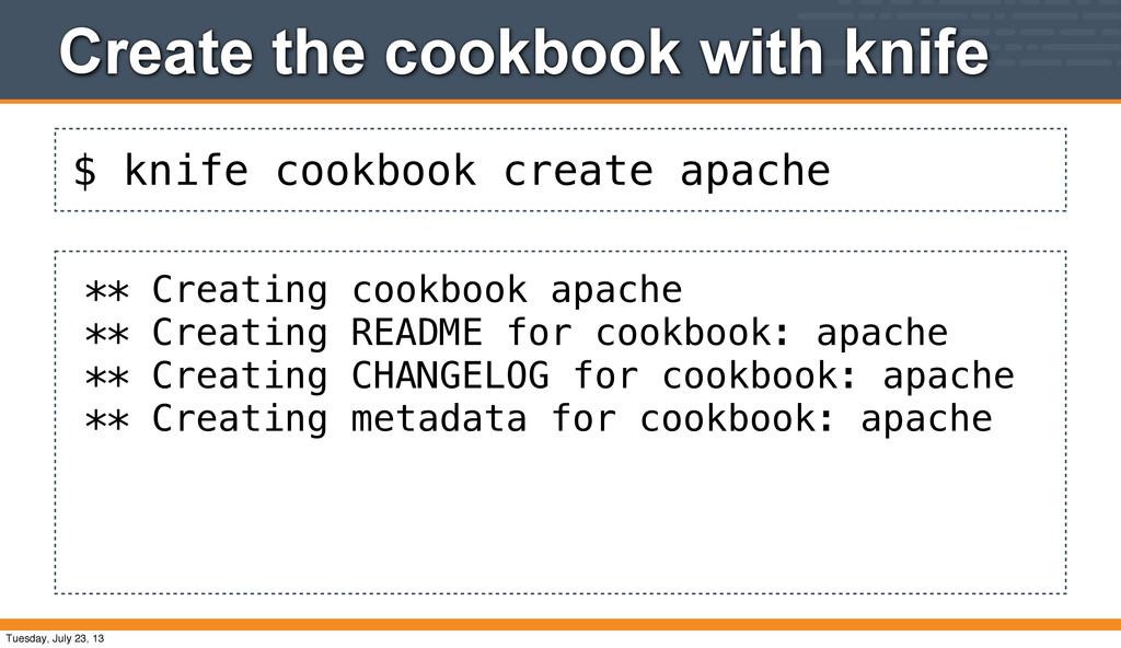 $ knife cookbook create apache Create the cookb...