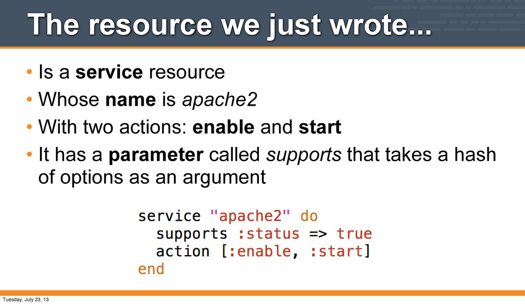 The resource we just wrote... • Is a service re...