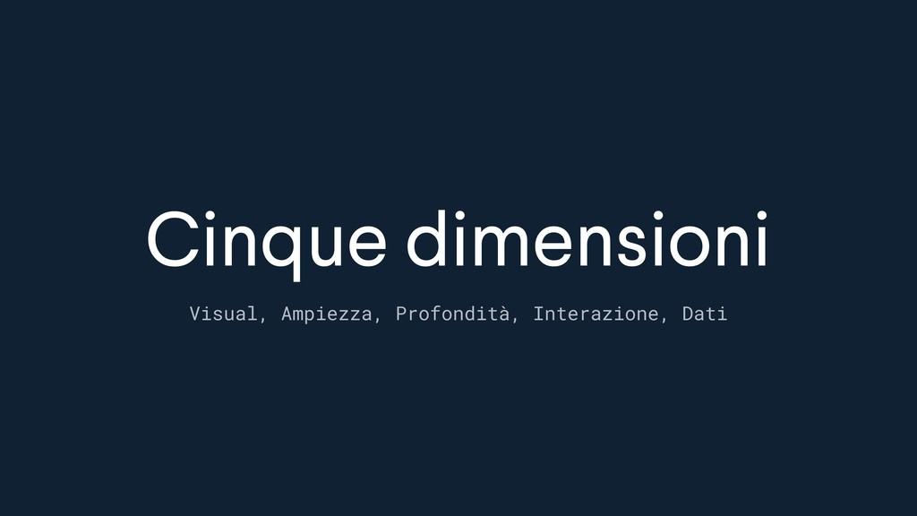 Cinque dimensioni Visual, Ampiezza, Profondità,...