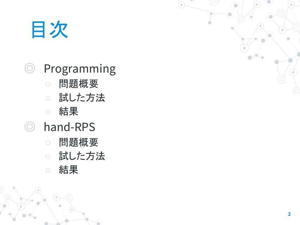 目次 ◎ Programming ○ 問題概要 ○ 試した方法 ○ 結果 ◎ hand-RPS...