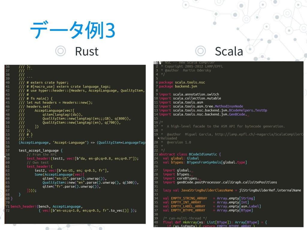 データ例3 ◎ Rust 7 ◎ Scala