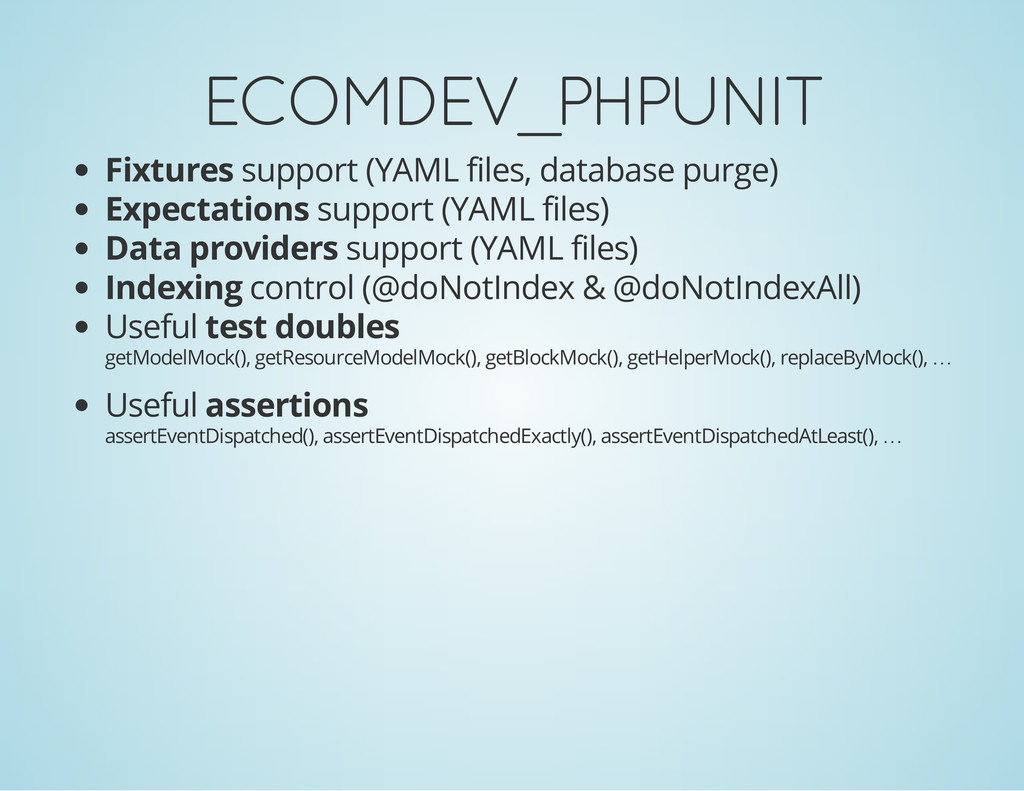 ECOMDEV_PHPUNIT Fixtures support (YAML files, d...