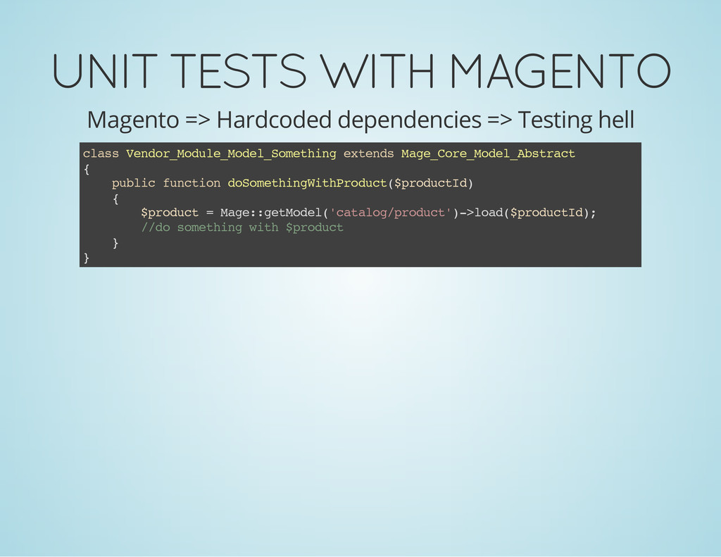 UNIT TESTS WITH MAGENTO Magento => Hardcoded de...