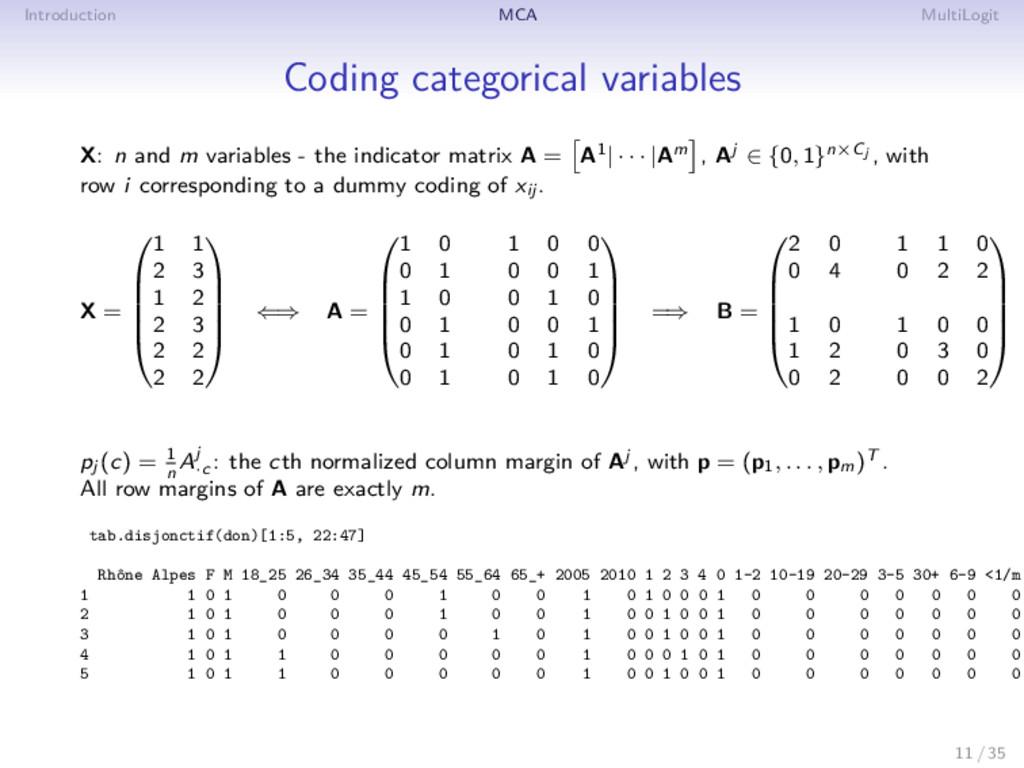 Introduction MCA MultiLogit Coding categorical ...