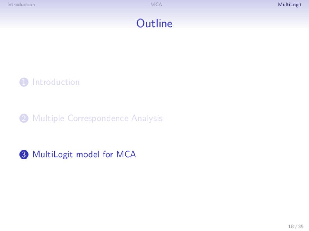 Introduction MCA MultiLogit Outline 1 Introduct...