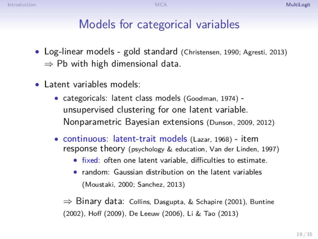Introduction MCA MultiLogit Models for categori...
