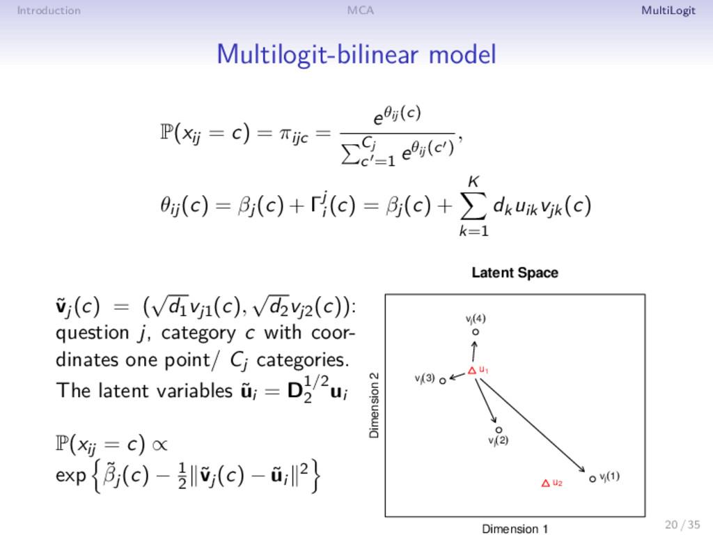 Introduction MCA MultiLogit Multilogit-bilinear...