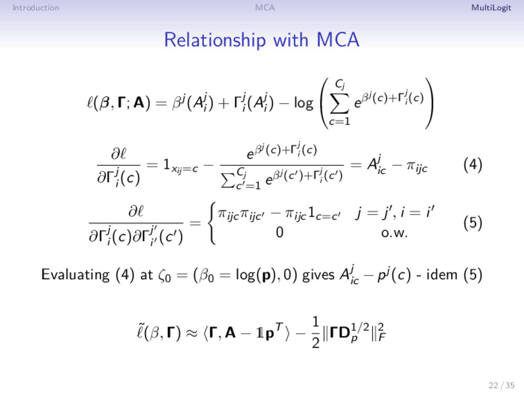 Introduction MCA MultiLogit Relationship with M...