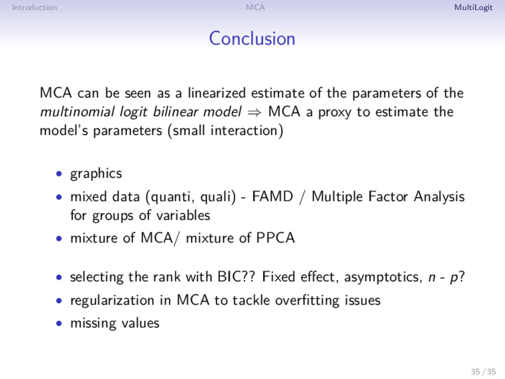 Introduction MCA MultiLogit Conclusion MCA can ...