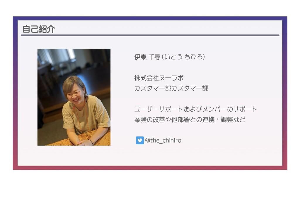 自己紹介 伊東 千尋 (いとう ちひろ) 株式会社ヌーラボ カスタマー部カスタマー課 ユーザー...