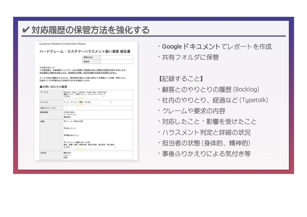 ✔ 対応履歴の保管方法を強化する ・Google ドキュメントでレポートを作成 ・共有フォルダ...