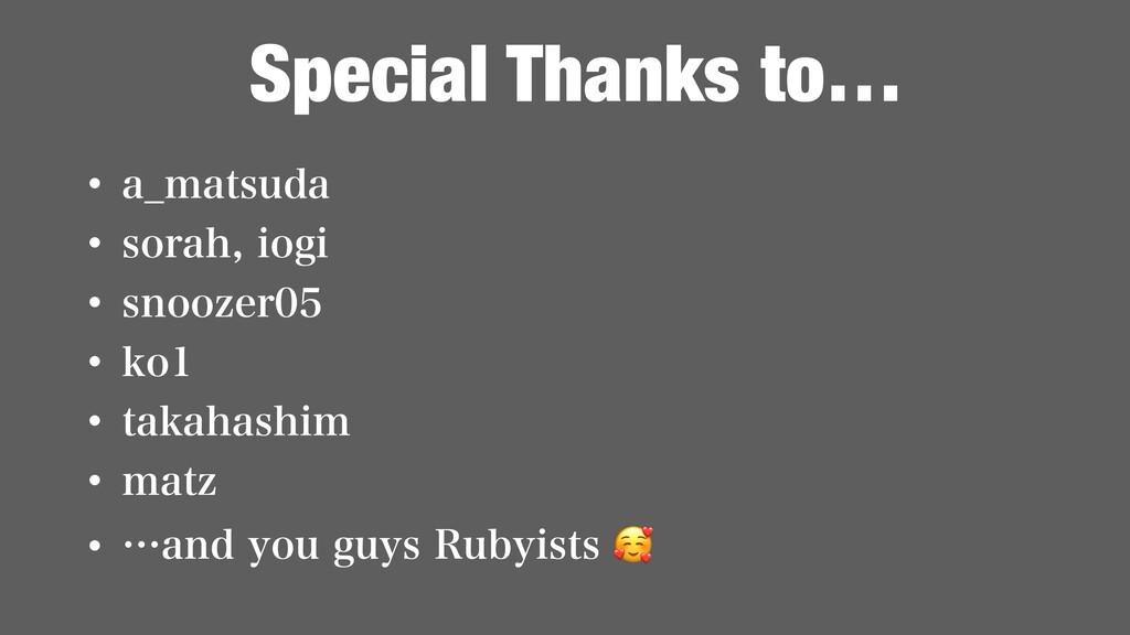 Special Thanks to… w B@NBUTVEB w TPSBIJPHJ ...