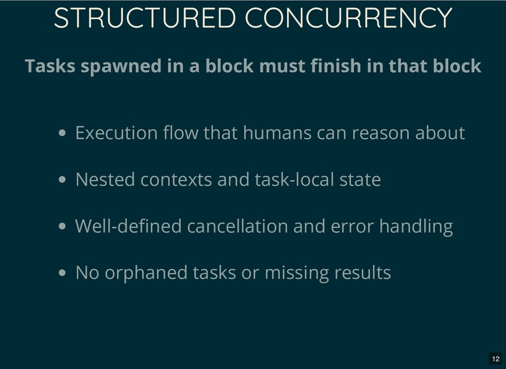 STRUCTURED CONCURRENCY Tasks spawned in a block...
