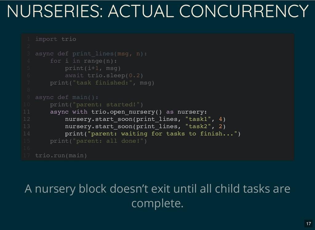NURSERIES: ACTUAL CONCURRENCY A nursery block d...