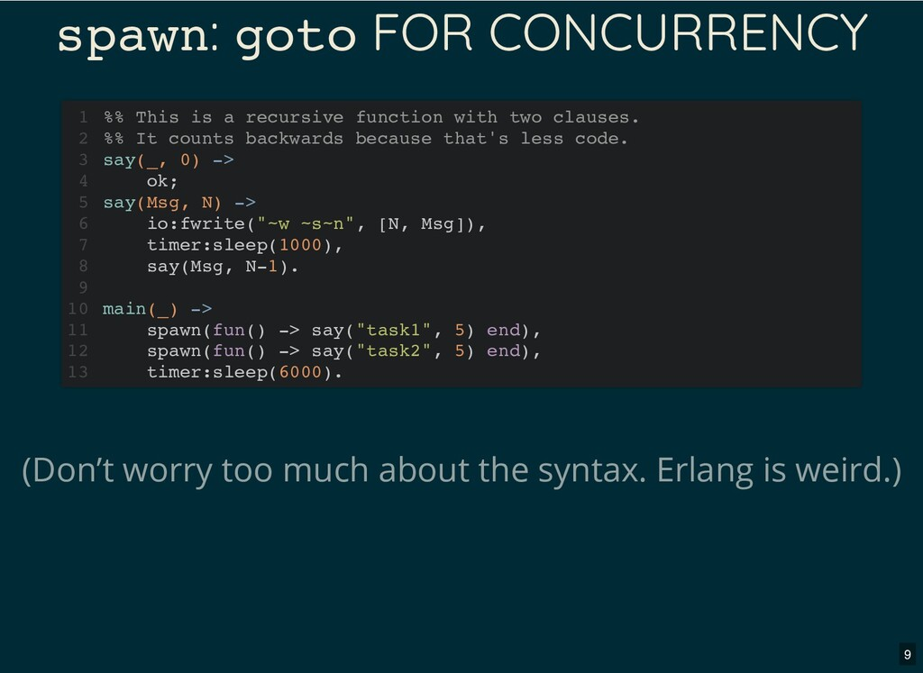 spawn: goto FOR CONCURRENCY (Don't worry too mu...
