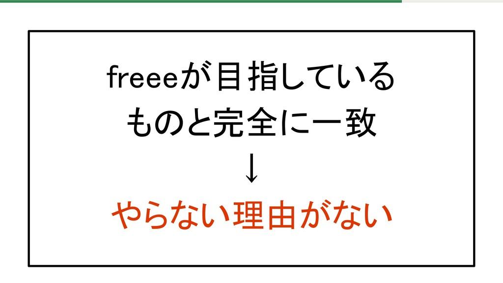 freeeが目指している ものと完全に一致 ↓ やらない理由がない