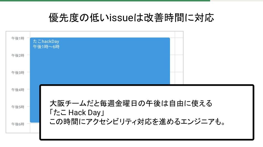優先度の低いissueは改善時間に対応 大阪チームだと毎週金曜日の午後は自由に使える 「たこ ...