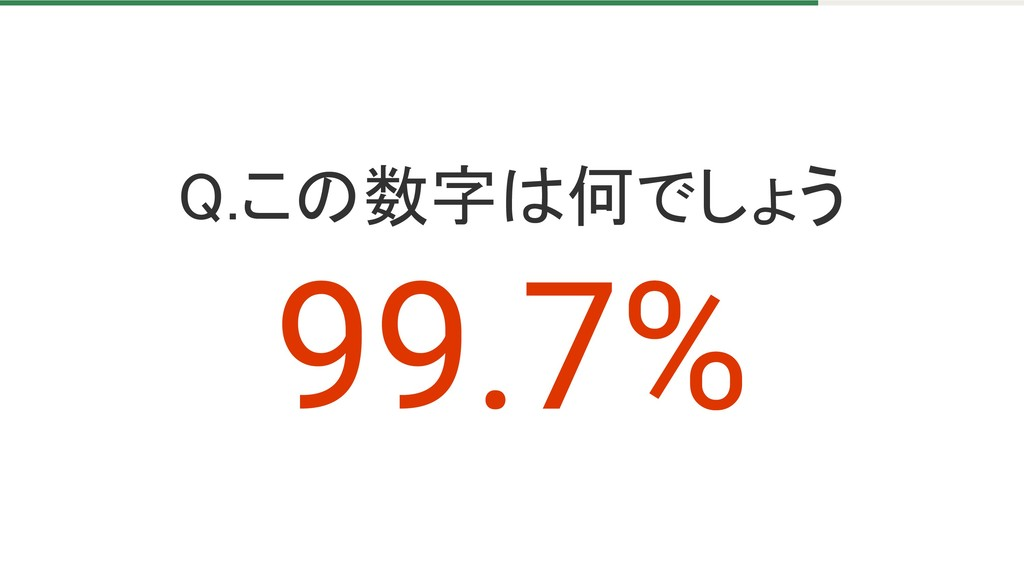 Q.この数字は何でしょう 99.7%