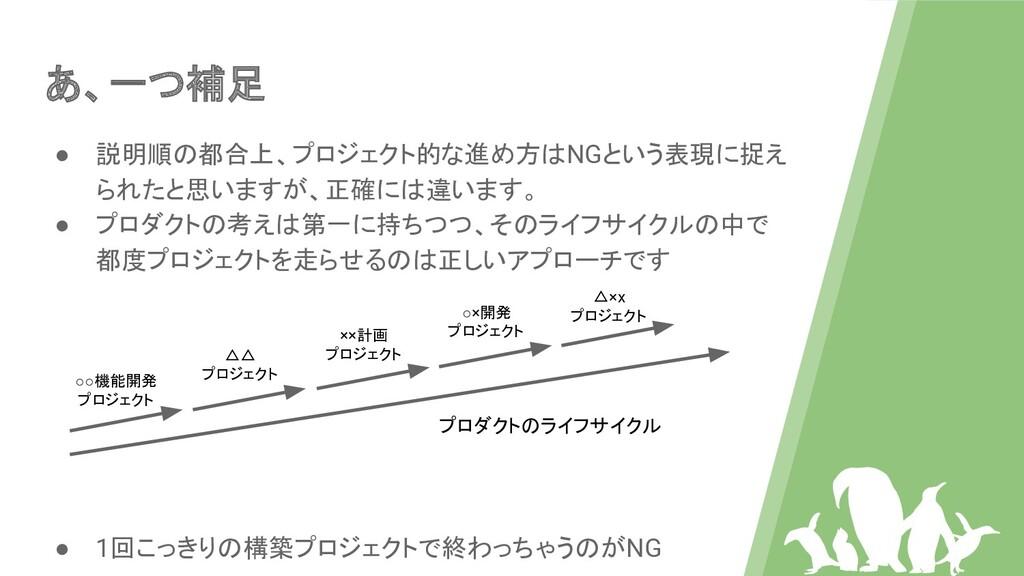 あ、一つ補足 ● 説明順の都合上、プロジェクト的な進め方はNGという表現に捉え られたと思いま...